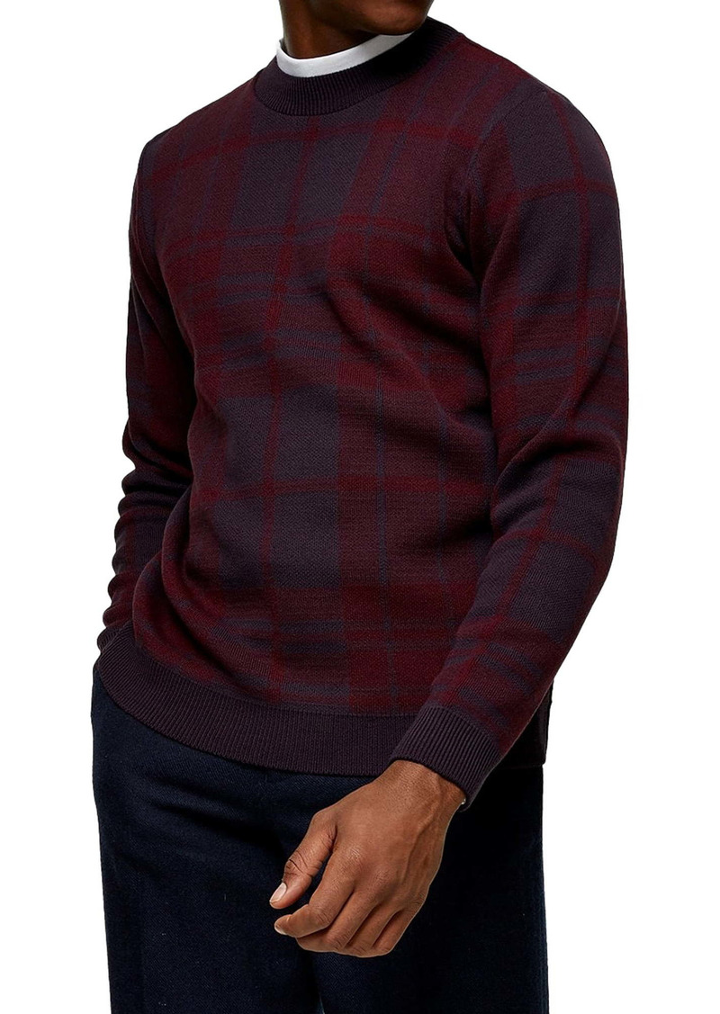 Topman Exploded Check Crewneck Sweater