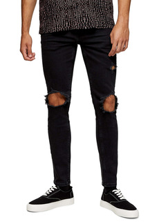 Topman Extreme Blowout Ripped Skinny Fit Jeans (Washed Black)
