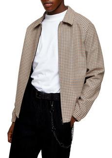 Topman Harrington Gingham Check Cotton Jacket