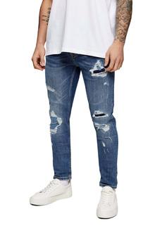 Topman Mist Distressed Skinny Jeans