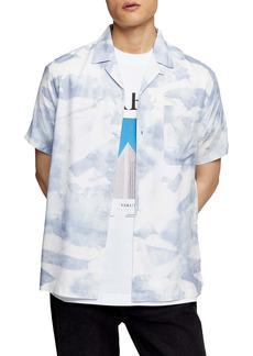 Topman Mist Revere Short Sleeve Button-Up Camp Shirt