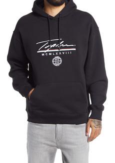 Topman Signature Globe Logo Graphic Hoodie Sweatshirt