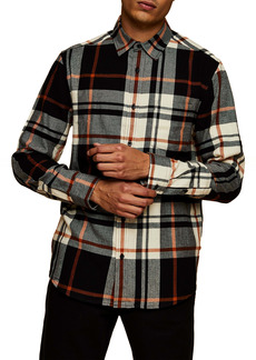 Topman Slim Fit Check Flannel Button-Up Shirt