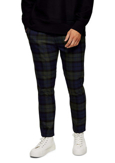 Topman Whyatt Plaid Drawstring Trousers