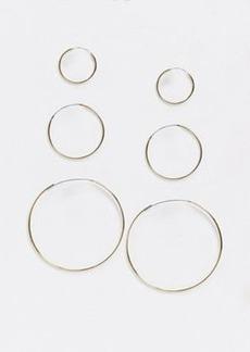 Topshop 3 pack hoop earrings in gold