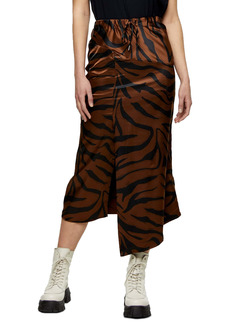 Topshop Animal Print Asymmetrical Skirt