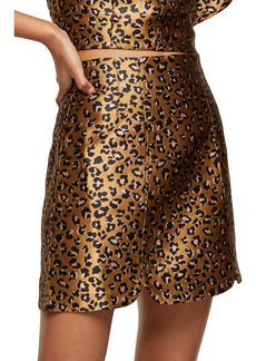 Topshop Animal Print Jacquard Skirt