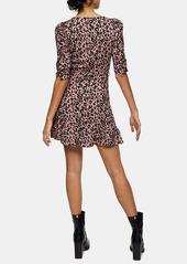 Topshop Animal Print Ruffle Wrap Minidress