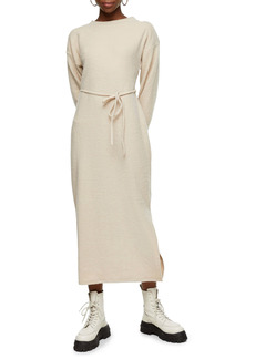 Topshop Belted Ribbed Knit Midi Dress