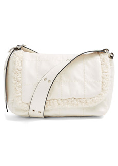 Topshop Borg Faux Leather & Fleece Shoulder Bag
