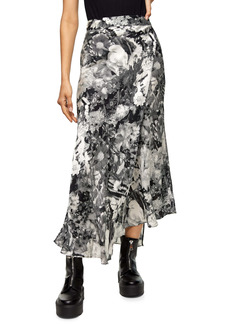 Topshop Boutique Floral Faux Wrap Midi Skirt