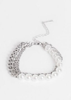 Topshop bracelet multipack x 2 in silver chain and faux pearl