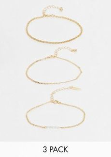 Topshop bracelet multipack x 3 in gold with pearl and twist chain detail