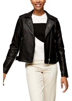 Topshop Brandy Faux Leather Moto Jacket (Regular & Petite)