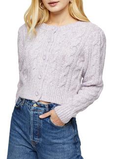 Topshop Cable Knit Crop Cardigan
