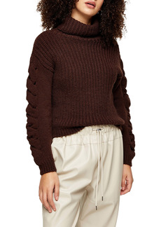 Topshop Cable Knit Sleeve Turtleneck Sweater