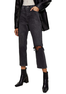 Topshop Chicago Editor Nonstretch High Waist Ripped Crop Jeans (Washed Black)