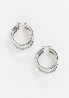 Topshop chunky triple hoop earrings in silver