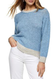 Topshop Contrast Crop Crewneck Sweater