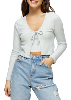 Topshop Cozy Rib Tie Front Crop Cardigan (Petite)