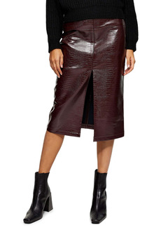 Topshop Crocodile Faux Leather Pencil Skirt