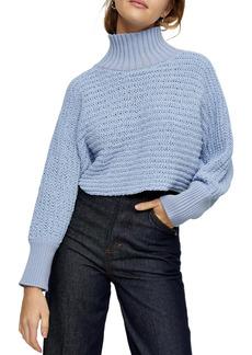 Topshop Crop Chenille Turtleneck Sweater