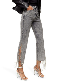 Topshop Diamante Fringe Hem Crop Straight Leg Jeans