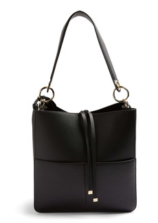 Topshop Double Pocket Faux Leather Hobo
