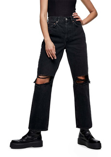 Topshop Double Ripped Knee Dad Jeans