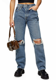 Topshop Double Ripped Knee Nonstretch Dad Jeans (Petite)