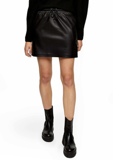 Topshop Drawstring Faux Leather Miniskirt