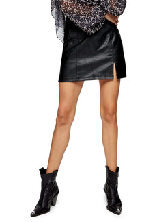 Topshop Eliesse Faux Leather Miniskirt