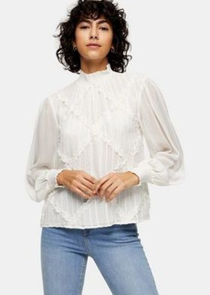 Topshop embroidered blouse in ecru