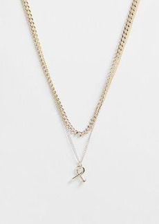 Topshop Exclusive multirow necklace with twist screw pendant in gold
