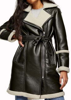 Topshop Faux Leather & Faux Shearling Moto Jacket