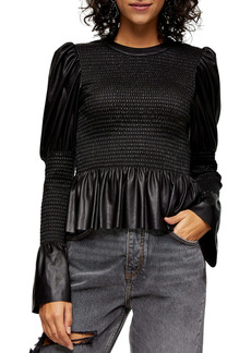 Topshop Faux Leather Smocked Peplum Blouse