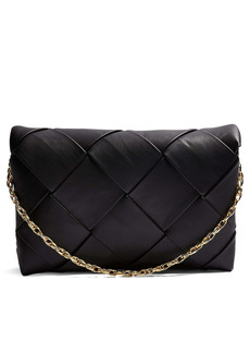 Topshop Faux Leather Woven Clutch