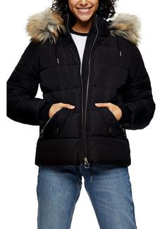 Topshop Frieda Faux Fur Trim Jacket (Regular & Petite)