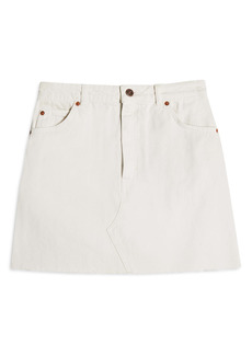 Topshop High Waist Raw Hem Denim Skirt