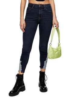 Topshop Jamie High Waist Ripped Hem Skinny Jeans (Regular & Petite)