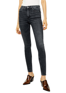 Topshop Jamie High Waist Skinny Washed Jeans (Washed Black)