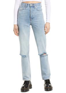 Topshop Kort Bleach Rip Straight Leg Jeans