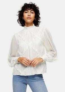 Topshop lace trim blouse in ecru