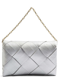 Topshop Large Woven Faux Leather Clutch