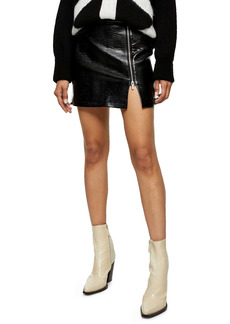 Topshop Lauren Croc Print Faux Leather Miniskirt (Regular & Petite)