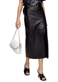 Topshop Leather Wrap Pencil Skirt