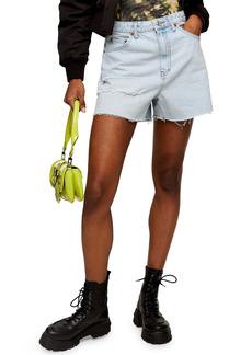Topshop Lola Distressed Denim Cutoff Mom Shorts (Bleach)
