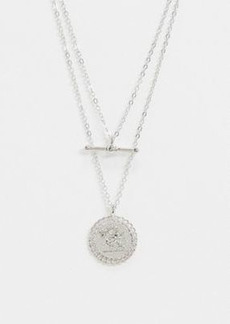 Topshop multi row necklace with t bar and coin in silver