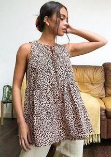 Topshop natural seersucker stripe frill blouse in animal