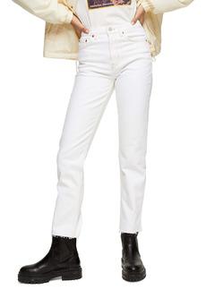 Topshop Off White Raw Hem Straight Leg Jeans